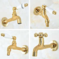 Gold Color Brass One Handle Kitchen faucet wall mounted Laundry bathroom Mop Water Tap Garden Washing Machine Faucet aav144