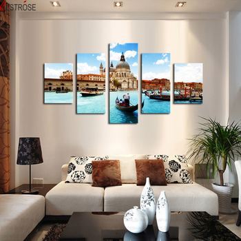 CLSTROSE Hot Sale Foreign Water City Landscape Decoration Painting Beautiful Castle Building Canvas Wall Paintings Picture