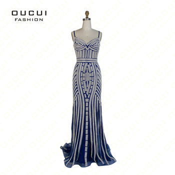 Real Photos Tulle Crystal Royal Blue Color Party Occasion Formal Long Evening Dress