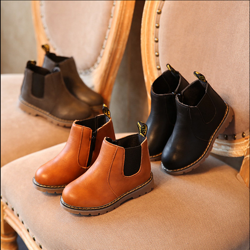 Spring Autumn Boys Girls Boots Kids Shoes Children Boys Girls Martin Boots Handmade Leather Boots Baby