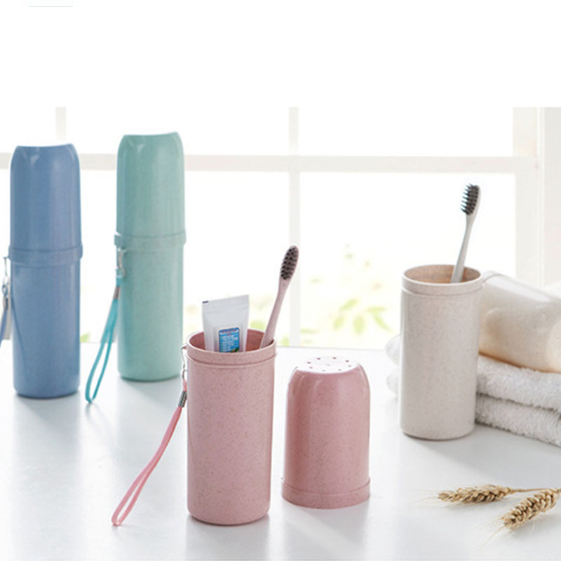 Toothbrush Cup  Portable Travel Supplies Toothpaste Holder Cups Eco-friendly Bathroom Tool Dual Use Tooth Mug  Wheat Straw  1 PC