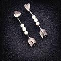 Perla Simulada geométrica Flecha Pendientes Largos Para Las Mujeres Bijoux Moda de Nueva Personalidad de la Joyería Lindo Regalo
