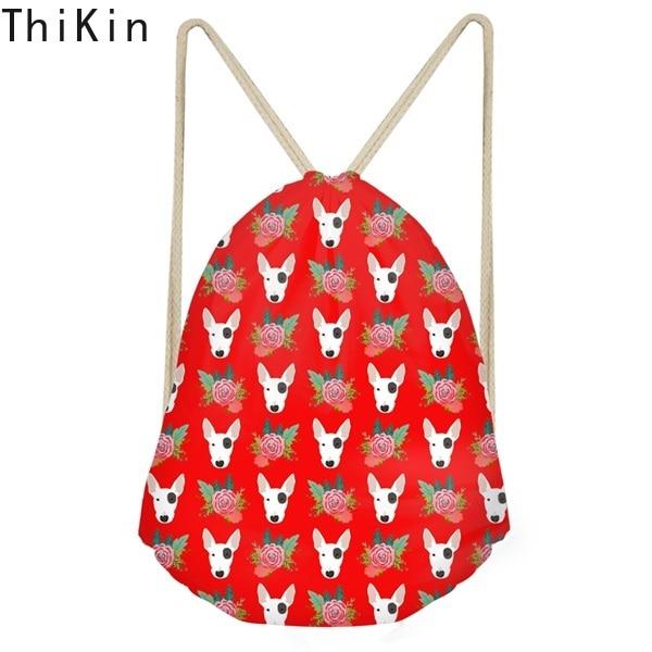 THIKIN Bull Terrier Floral Pattern Woman Drawstrings Bags Red Large Beach Bags Funny Dog Girls Sack Bag Fashion Softback Storage