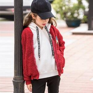 Image 5 - Sudadera con capucha de Color caramelo de invierno para adolescentes con forro polar ropa para chico con capucha 6 7 8 9 10 11 12 13 14 15 16 años