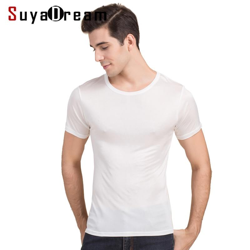 Camiseta básica de hombre Camiseta 100% seda natural Sólido Top de manga corta Top de seda para hombre Blanco Azul marino Gris 2018 Nueva primavera verano