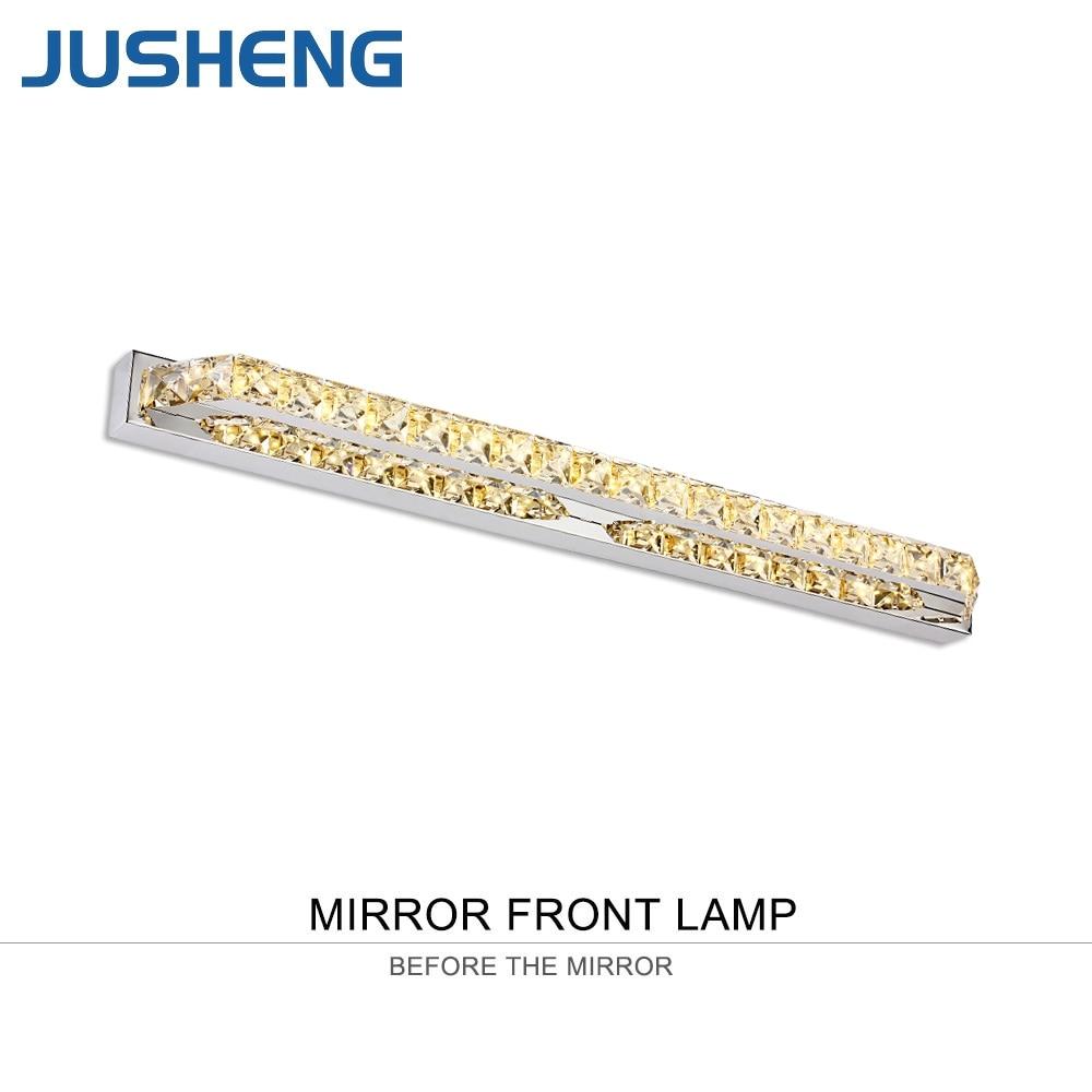 JUSHENG 14W Crystal Bathroom LED Mirror Front Lights Champagne Transparent Crystal Indoor Sconce Lighting 110V 220V
