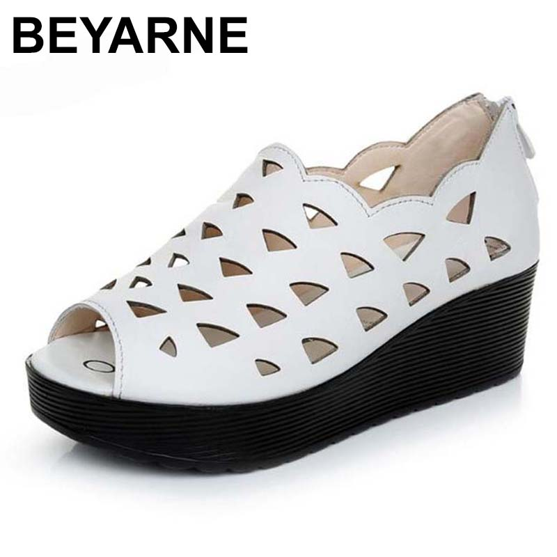 BEYARNE New Hollow Fish Mouth Comfortable Wedges Sandals Women Summer Sandals Genuine Leather Shoes Plus Size