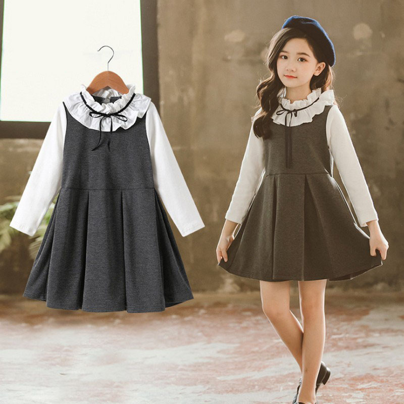 Spring Autumn Girls Dress Fake Two Pieces A-line Dresses Korean Contrast Color Wooden Ear Side Sweet Kids for