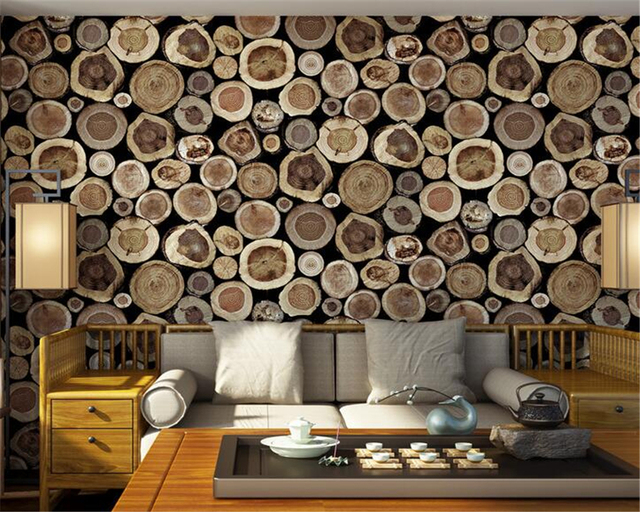 Beibehang Wooden 3D Wallpaper Retro Stump Cafe Restaurant Decoration ...