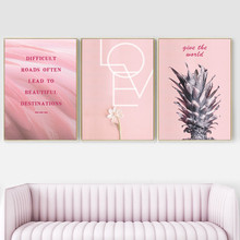 Pink Pineapple Flower Motivational Quote Wall Art Canvas Painting Nordic Posters And Prints Pictures Living Room