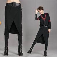 Europe pants 2019 autumn and winter new Slim was thin casual pants false two pieces of skirt fight sex pants feet pant