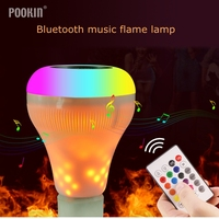 AC 100-240V LED White + RGB+Yellow Flame Light Ball Bulb Colorful Lamp Smart Music Audio Wireless Bluetooth Music Flame Lamp