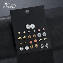 ROMAD Vintage Stud Earrings set for Women 13pairs/Set Tiny Flower Boho Sexy Body Jewelry R4