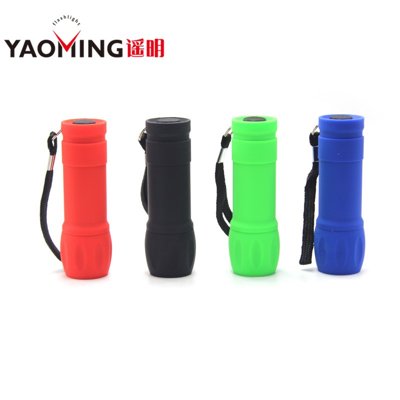 100 PCS Powerful 9 Led Flashlights Waterproof Plastic Portable Lamps Pocket lights Outdoor Lighting By AAA For Gifts Mini Torch