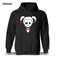 Aikooki DC Suicide Squad Harley Quinn Hooded Hoodies Men Hip Hop Fashion Black Sweatshirt Men Hoodie