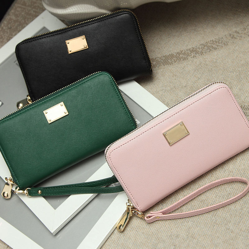 New Fashion Women Wallet PU Leather Clutch Bags Purse Zipper Up Handbags With Strap LT88