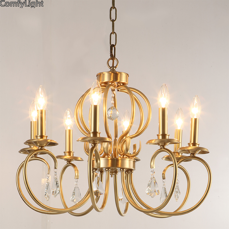 Retro Luxury copper Crystal chandelier Living Room lustre Modern brass Light Fixture Wedding Decoration led Chandelier lighting