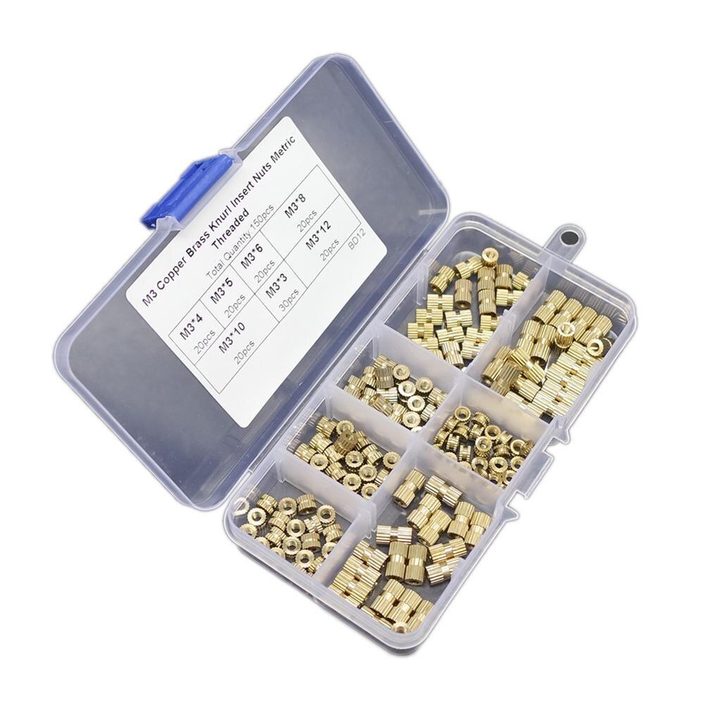 160 180 280pcs/Box Brass Knurl Insert Nuts M3 Threaded Insert Screws Assortment Set Kit Industry Machinery Nut Injection Tools