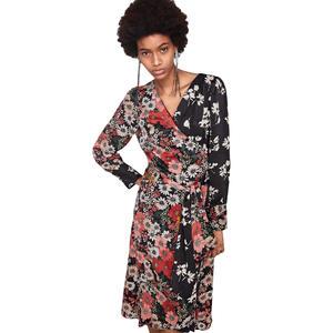 7998a93587 romacci Women Vintage Floral 2018 Boho Long Sleeve Midi