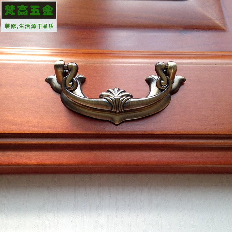 Solid Mahogany Furniture Pulls Antique Bronze Drawer Pens and Cabinet Handle Retro Shoe Cupboard Kitchen Handle Bar antique european furniture handles cabinet handle door drawer circular copper