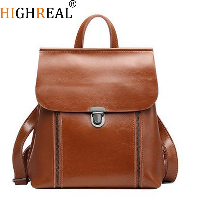 HIGHREAL Japan and Korean Style Genuine Leather Women Backpack Vintage School Backpack For Girls Brand Designer Bags Best Gift qiaobao qiaobao japan and korean style genuine leather women backpack vintage school backpack for girls brand designer bags best