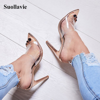 Fashion Transparent Heels Shallow Women's Shoes Slippers Round Toe Gold Beach Slippers Peep Toe Womens Slippers Indoor