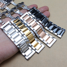 Silver and black Rose gold Stainless steel watchband Bracelets 18mm 20mm 22mm 24mm Watches strap butterfly