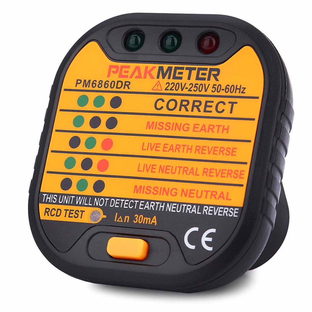 1pc PM6860DR Automatic Electric Socket Tester 220V-250V EU Plug 66x62x63mm For Home Appliance Testing Tool