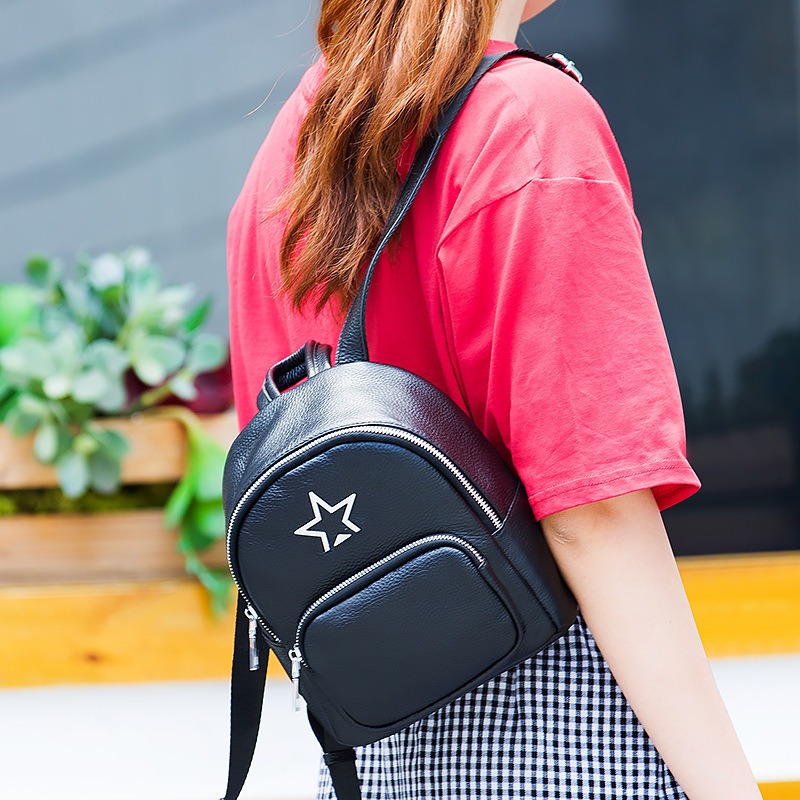 Elegant and exquisite women leather backpack just right buckle plasticity highlights the feminine style of the Korean women bag