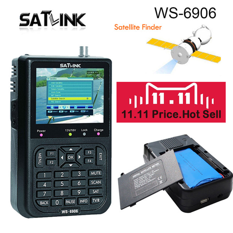 Satlink WS 6906 Digital Satellite Meter Sat finder DVB-S FTA MPEG-2 Satellite Signal Finder EPG AV 3.5 inch LCD Display WS-6906 толстовка wearcraft premium унисекс printio рёв волка