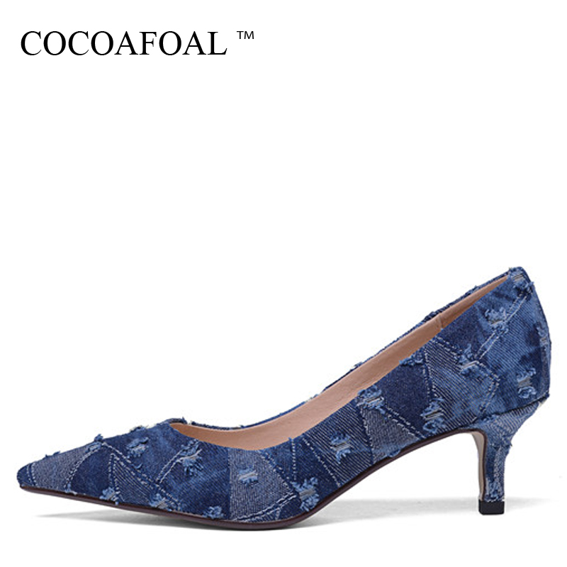 COCOAFOAL Woman Denim Pumps Shallow Fashion Sexy High Heels Shoes Plus Size 34 - 42 Party Pointed Toe Wedding Blue Pump 2018 gzx101206 fashion woman thin high heels pu pump lady plus big size sexy pointed toe shoes woman wedding shoes t strap 10cm 12cm