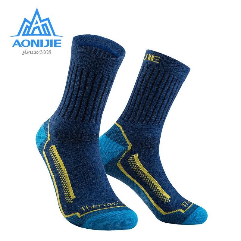 AONIJIE мериносовой шерсти теплые носки осень зима для мужчин женщин восхождение пеший Туризм Прогулки Бег без блистера антифрикцион