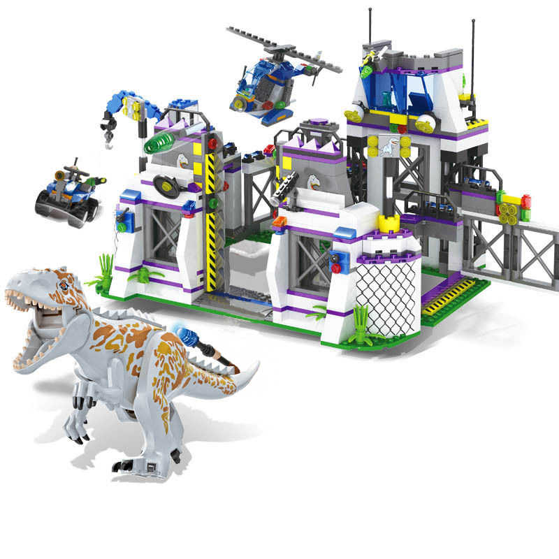 841pcs Jurassic World Park Dinosaurs Base Compatibie Legoings Building Blocks Toy Kit DIY Educational Children Birthday Gifts