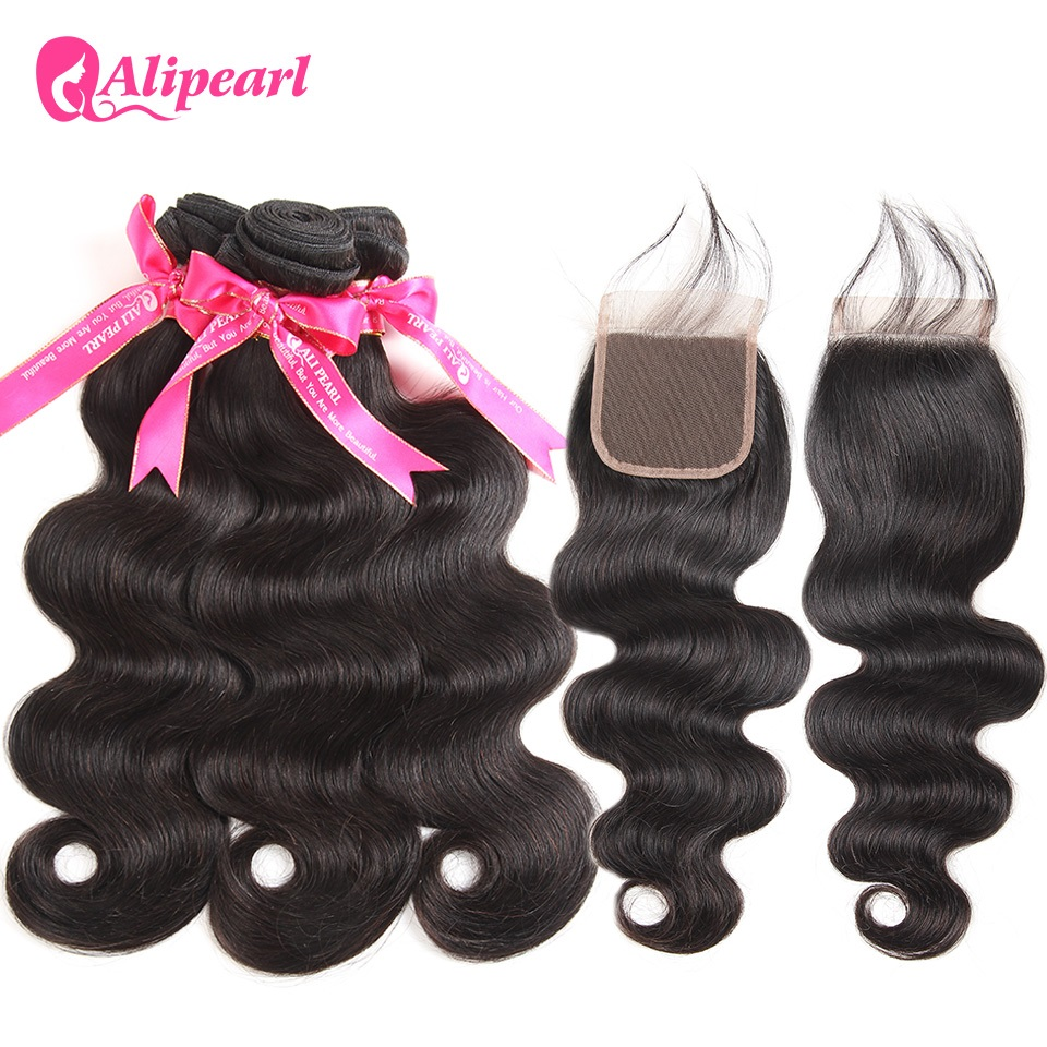 3/4 Bundles With Closure Human Hair Weaves New Fashion Alipearl Hair 100% Human Hair Bundles With Closure Malaysian Straight Hair Weave 3 Bundles Remy Hair Extensions Natural Black