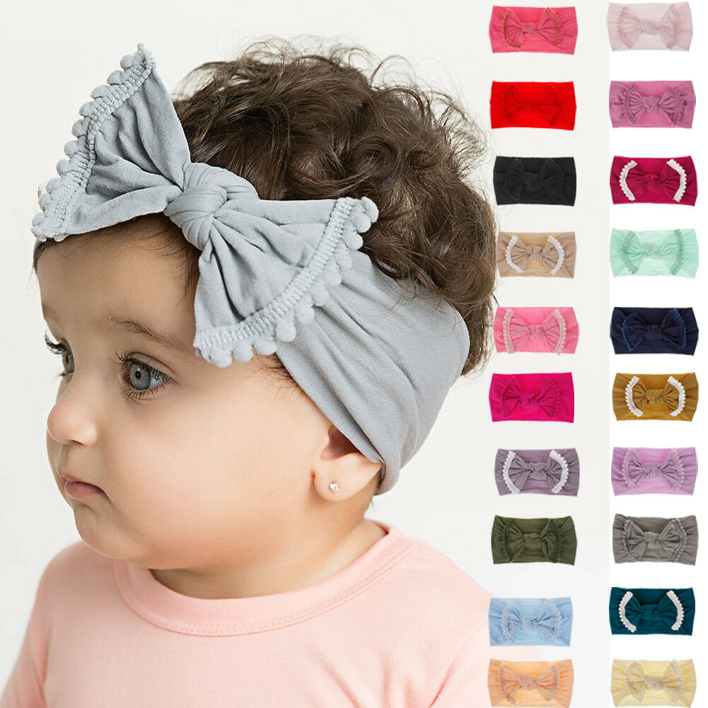 Toddler Girls Kid Baby Big Bow Hairband Headband Stretch Turban Knot Head Wrap 1Pcs 21Colors Newborn Baby Infant Accessories