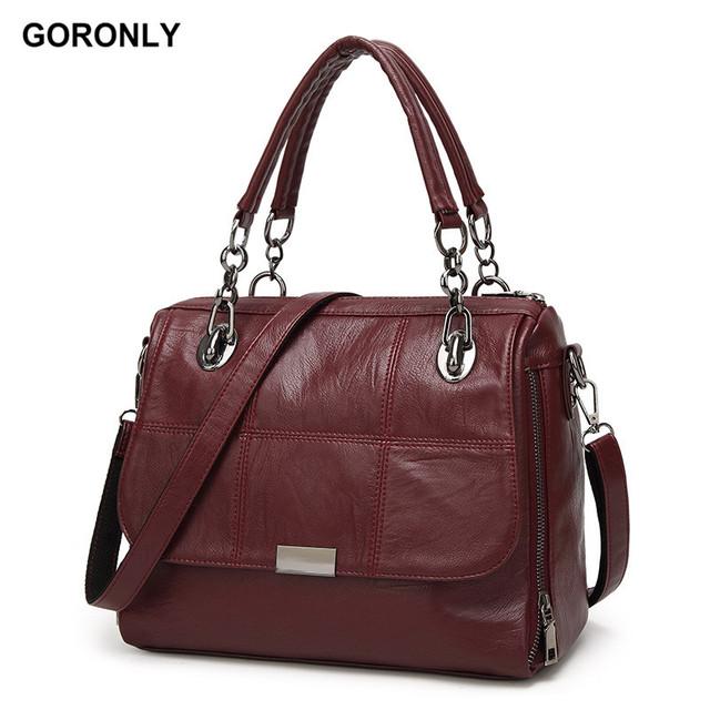 GORONLY Brand Vintage Leather Chains Handbags Women Designer High Quality Shoulder Bags Fashion Purses Ladies Crossbody Bag