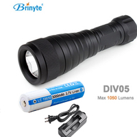 Brinyte DIV05 LED Diving Light CREE XML2 1000lm LED Scuba Diving Torch Flashlight 200M Underwater Lamp +18650 battery +charger