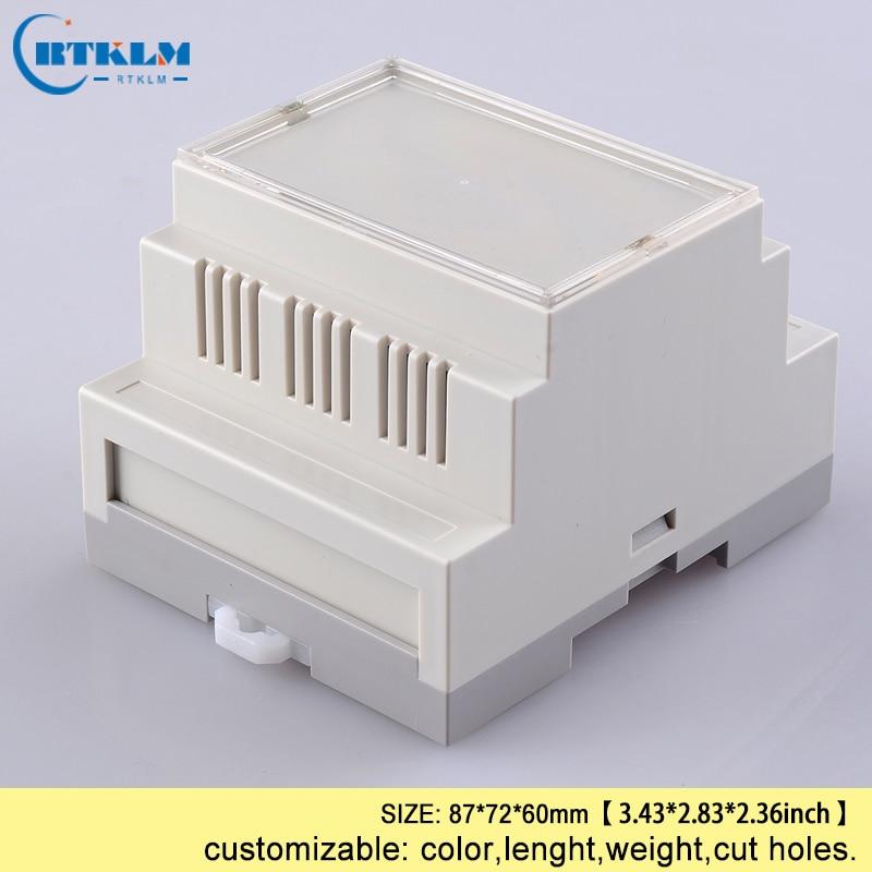 Industrielle din schienen kunststoff gehäuse abs elektronische projekt fällen diy din-schiene box draht junction box benutzerdefinierte plc box 87 * 72*60mm