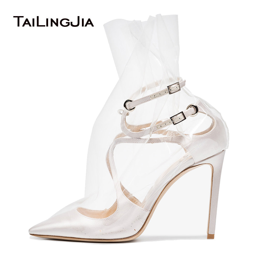 Plastic Bag Pumps In White Satin for Women Black Transparent Ankle Booties Ladies Short Boots Stylish Evening Dress Heels 2018 3 in 1 stylish protective plastic bumper frame for iphone 5 white black