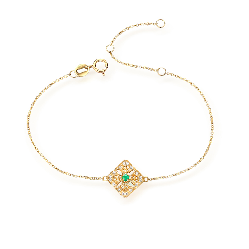JXXGS Jewelry Fashion 14K Gold Elegant Natural Emerald Bracelet Square Hollow Design Bracelet For Women Daily Wear