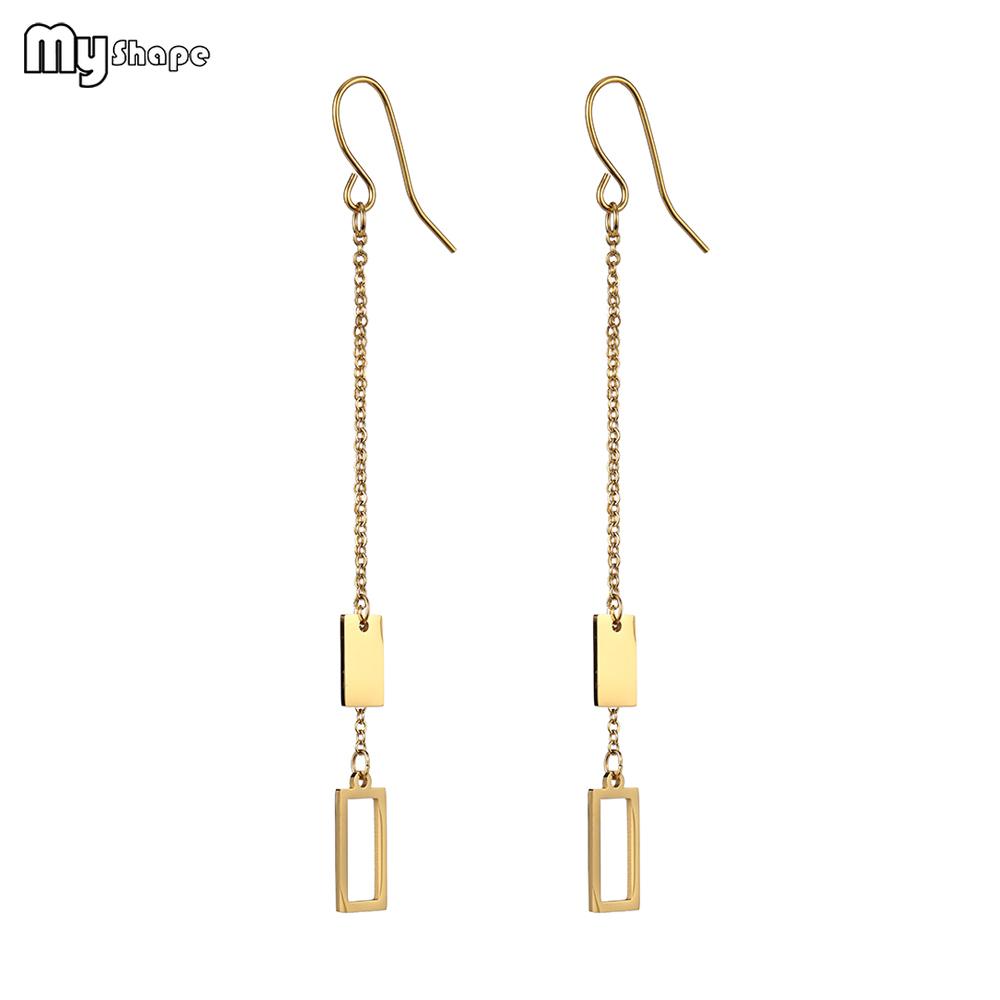 My Shape Stainless Steel Simple Gold Silver Drop Earring Long Tassel Rectangle Pendant Bohemian Tassel Earrings in Drop Earrings from Jewelry Accessories