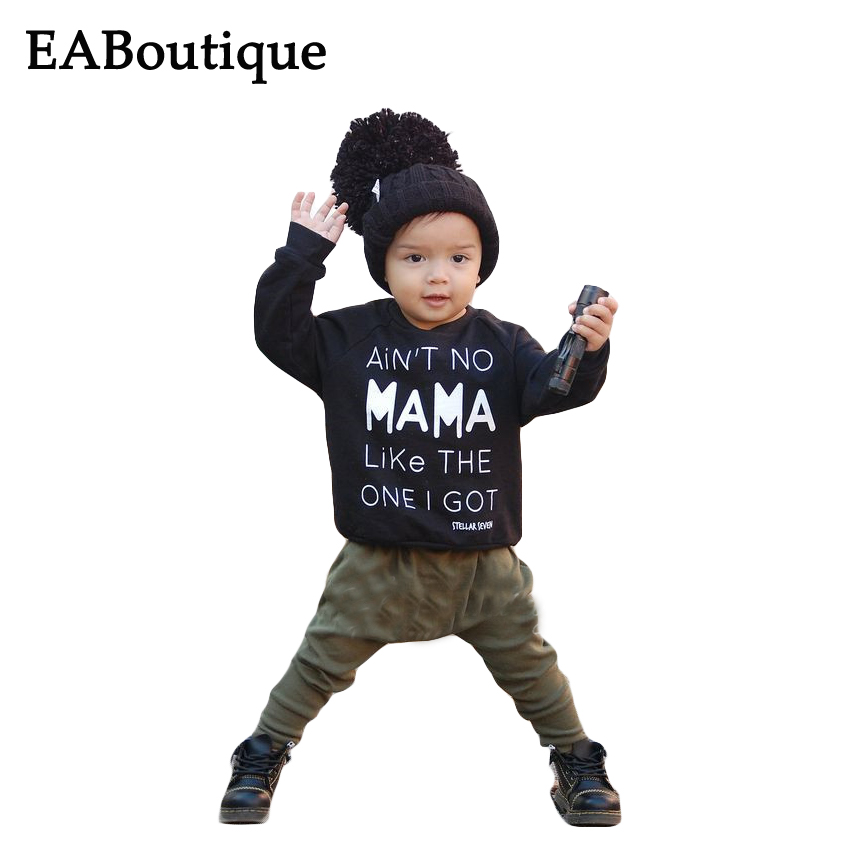 EABoutique Winter Rock Fashion Letter MaMa printed long sleeve t shirt with pants baby boy clothing
