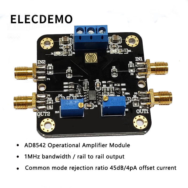 AD8542 Module Rail to Rail Output Op Amp Module 1MHz Bandwidth Common Mode Rejection Ratio 45dB 4pA Offset Current-in Demo Board Accessories from Computer & Office