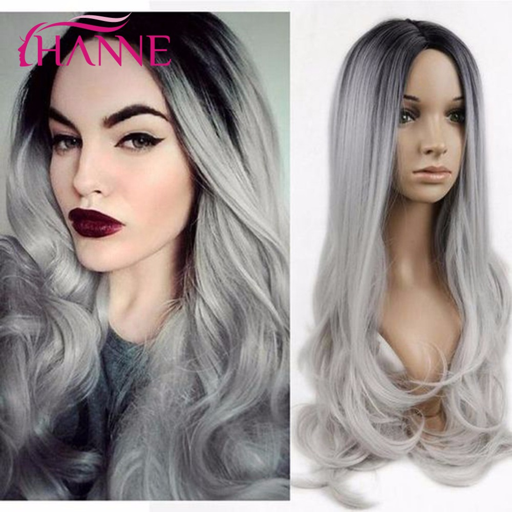 HANNE Black to Light Grey 26inch Long Ombre Daywear or Party Wigs For Black Women Body Wave Resistant Synthetic Hair Wigre