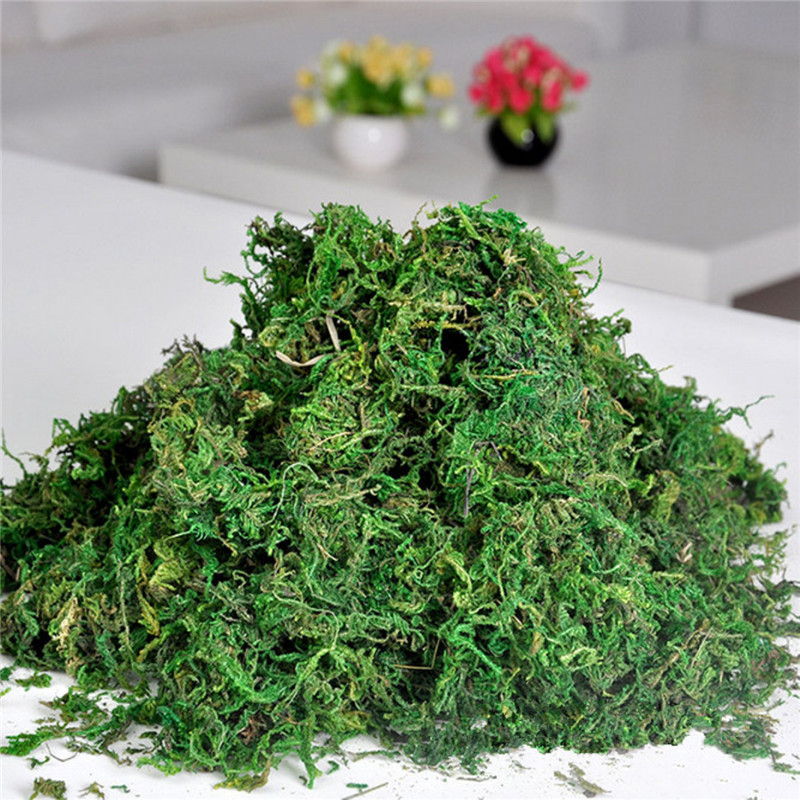 Promotion !! FAKE Kunstig Tørret Reindeer Moss til Blomster Grass Basket Plant Hjem Have Garland Bryllupsfest DIY Decoration