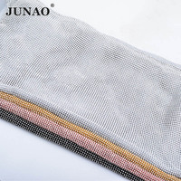 JUNAO 45x120cm Silver Aluminum Mesh Glass Rhinestones Trim Metal Fabric Crystal Mesh Banding Sewing Strass Applique for Jewelry