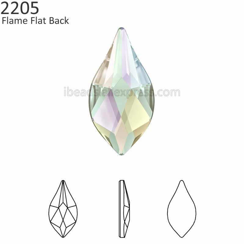 (2 pieces) Original Crystals from Swarovski 2205 Flame flat back no hotfix  rhinestone for 39eec25fcedd