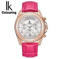 Comparar IK Auto fecha cronógrafo reloj de cuarzo mujer moda Casual deporte cristal Rosa oro reloj de cuero genuino señora reloje mujer