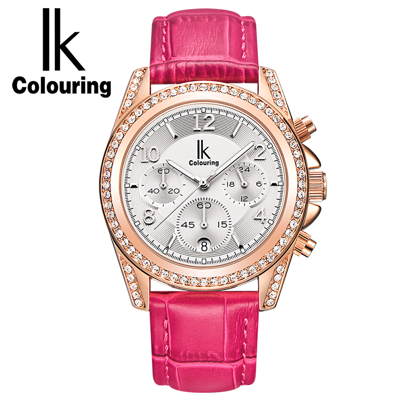 IK Auto Date Chronograph Quartz Watch Women Fashion Casual Sport Crystal Rose Gold Genuine Leather Watch Clock Lady reloje mujer