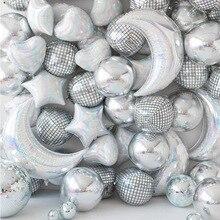 Ballons Mylar argentés pour décorations de soirée dansante, ballons en Mylar argentés pour décor de soirée de Hip Hop, grande fête à thème des années 70s 90